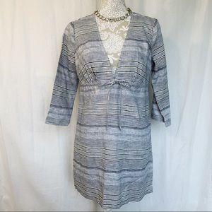 Talbots // Grey, Yellow Striped V Neck Cover Up XS